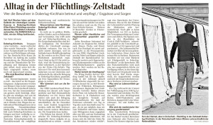 Alltag in der Flüchtlings-Zeltstadt, LR vom 16.10.2015